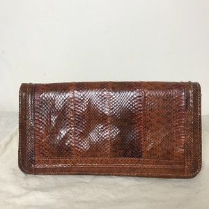 Vintage Brown Reptile Skin Leather Clutch
